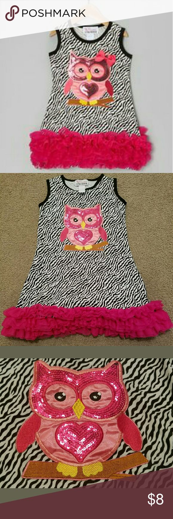 The Princess & The Prince Owl Sequin Dress 8/9 This The Princess & The Prince Owl Sequin Dress Size 8/9 is in good pre-owned condition. It is zebra striped black and white with pink ruffles. It fits at the knee or above. So cute!  Measurements are: Armpit to Armpit: 13.5 inches  Length: 24 inches The Princess & The Prince  Dresses Casual