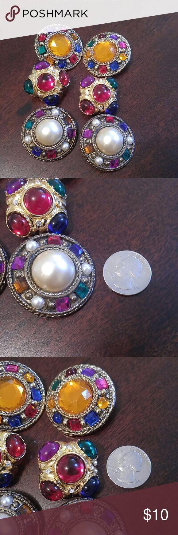 Vintage Earring Lot.  3 Pairs of 80s Earrings Vintage Earring Lot.  3 Pairs of 80s Earrings. Clip on backings. Very Colorful...No Missing Stones. Gold Tone Metal. Vintage Jewelry Earrings