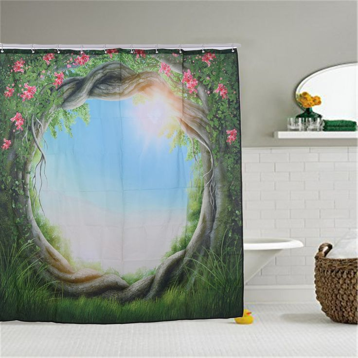 High Quality Polyester Curtain Greenery Fairy Trees Enchanted Forest Shower Curtain Bathroom Decor Family Art Bath Accessories