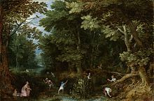 Latona and the Lycian Peasants, ca. 1605, by Jan Brueghel the Elder.  This scene, usually called Latona and the Lycian Peasants or Latona and the Frogs, was popular in Northern Mannerist art,[35] allowing a combination of mythology with landscape painting and peasant scenes, thus combining history painting and genre painting. It is represented in the central fountain, the Bassin de Latone, in the garden terrace of Versailles.