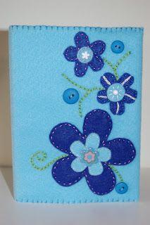Indigo Blue: Felt Stitched Notebook Cover