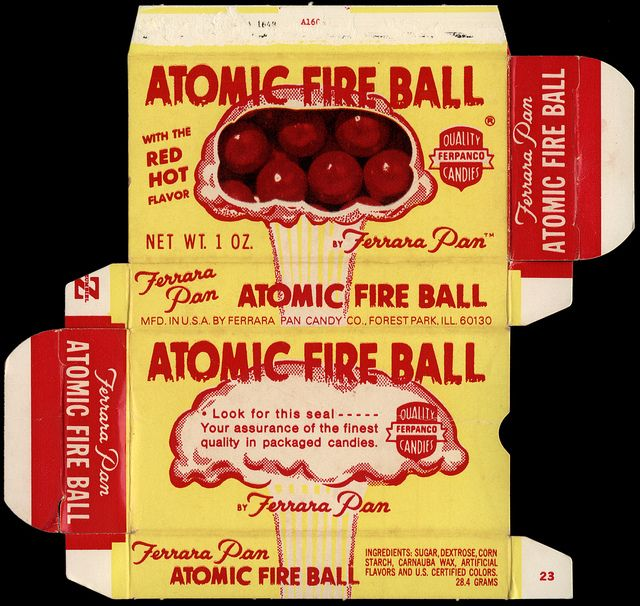 Ferrara Pan - Atomic Fire Ball candy box - late-1960's to early 1970's by JasonLiebig, via Flickr