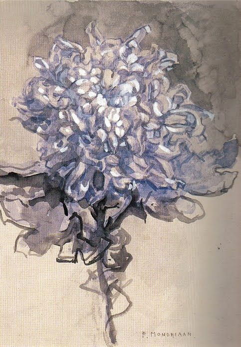 Piet Mondrian - Chrysanthemum (1909)... And then he went on to do that geometric, hard edge, primary color, abstract art...