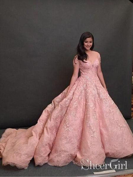 8f576d71534 Cap Sleeve Pink Lace Ball Gown Prom Dresses Pincess Quinceanera Dress  ARD1973-SheerGirl