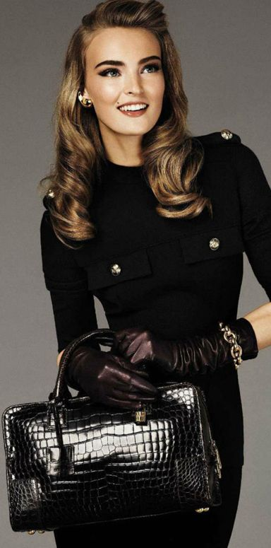 Love the retro hair and all black outfit!