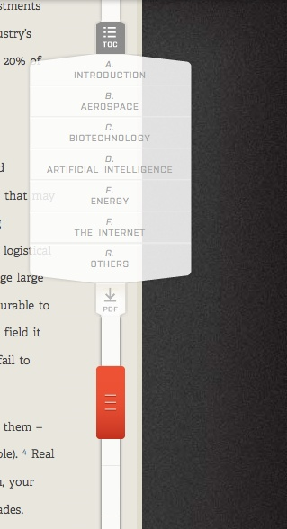 Not exactly conversational, but I love this scroll bar and drop down menu/pdf button on foundersfund.com