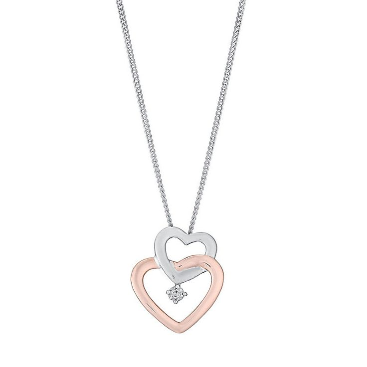 Sterling Silver & 9ct Rose Gold Diamond Double Heart Pendant - Product number 3031578
