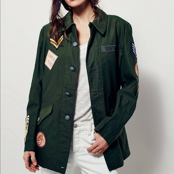 Free People Vintage Military Jacket Vintage military inspired jacket with authentic military and nostalgic patches. From the Free January new releases, sold out. Free People Jackets & Coats Utility Jackets