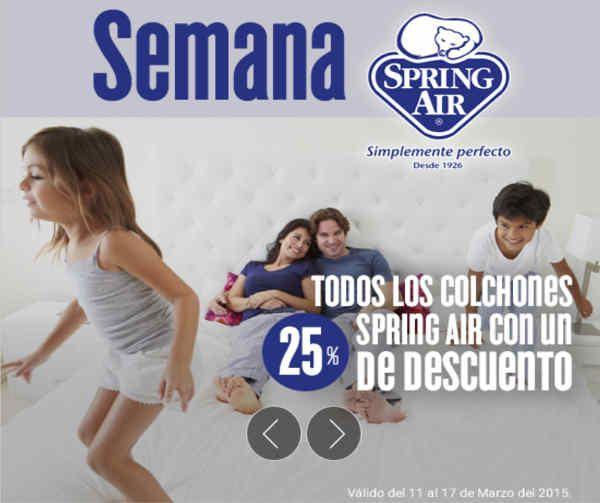 Elektra: colchones spring air con 25% de descuento