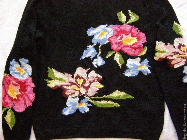 """Купить Свитер с вышивкой """"Тропические цветы"""" - цветочный, свитер с цветами, гибискус, магнолии, красивый свитер"""