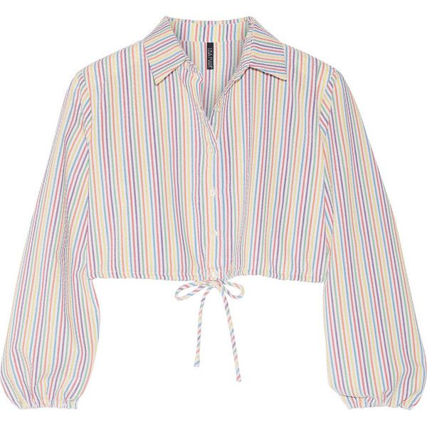 Lisa Marie Fernandez Cropped stripped seersucker shirt ($465) ❤ liked on Polyvore featuring tops, white, loose white shirt, white crop shirt, colorful shirts, cut loose shirt and seersucker shirt