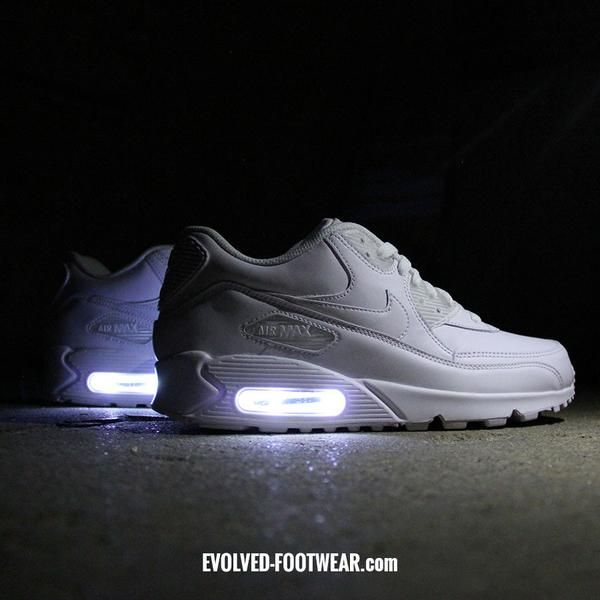 WHITE NIKE AIR MAX 90 WITH LED LIGHTS
