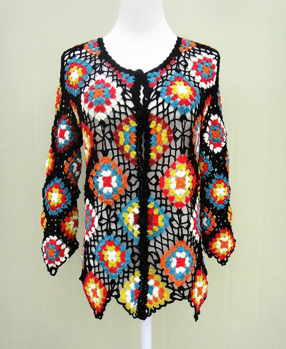 Granny Square Sweater Crochet Cardigan Long Sleeve Button Down