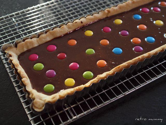 smarties tart ready for the fridge by retro mummy, via Flickr