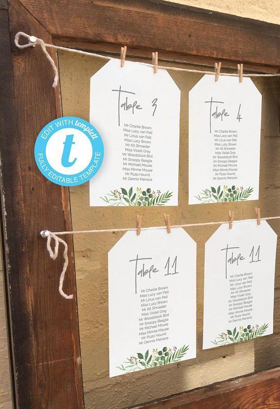 Printable Wedding Seating Chart Individual Table Plan Templates