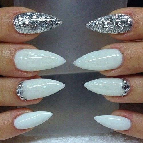 awesome White glitter stiletto nails nails glitter nail nail art nail ideas stiletto nails