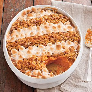 70 Spectacular Thanksgiving Sides | Cornflake, Pecan, and Marshmallow-Topped Sweet Potato Casserole | SouthernLiving.com
