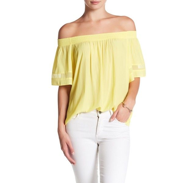 Ramy Brook Jessica Off-the-Shoulder Blouse (£85) ❤ liked on Polyvore featuring tops, blouses, lemon, sheer chiffon blouse, smock blouse, ramy brook blouse, beige top and off the shoulder blouse