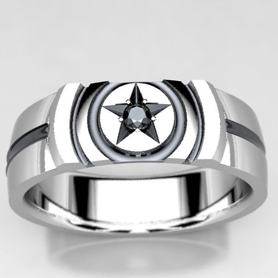 Captain America Inspired Wedding Ring With 2mm Black Diamond Etsy Captain America Wedding Wedding Rings Mens Wedding Bands