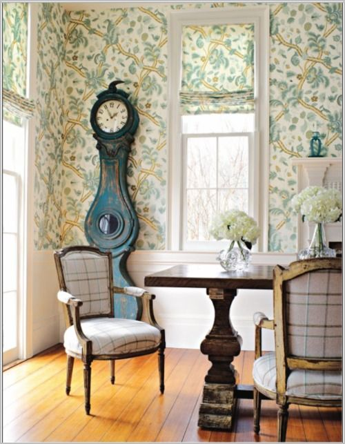 clockDecor, Dining Rooms, Chairs Fabrics, Thibaut Wallpapers, Interiors Design, Denmark Wallpapers, Diningroom, Antiques Clocks, Clocks Tables