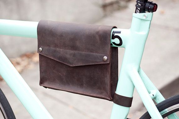 Leather Bicycle Frame Bag  Dark Chocolate Brown by jrawldesign, $95.00