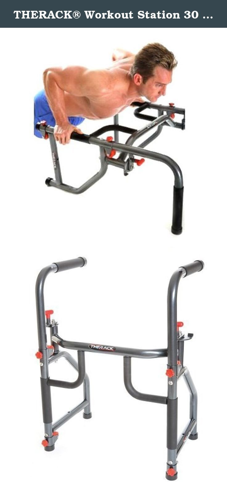THERACK® Workout Station 30 lb Pro Version. • Folds up for easy storage • Add up to 40lbs of plates to THERACK®for added resistance for arm curls, rows and shoulder presses • Adjustable wheels for Abs and Core Workout • Sleek Silver powder coat with red urethane wheels and fasteners - Very Sporty • Multiple durable, yet comfortable hand grips • Rubber footings • Sturdy steel construction for durability and long life • Weight plates not included • User can not exceed 6 foot 6 inches and...