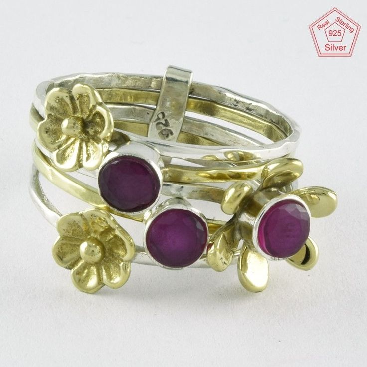 SZ. 8 US RUBY STONE BRASS & 925 HANDMADE STERLING SILVER STACKABLE RING #SilvexImagesIndiaPvtLtd #Stackable #AllOcassions