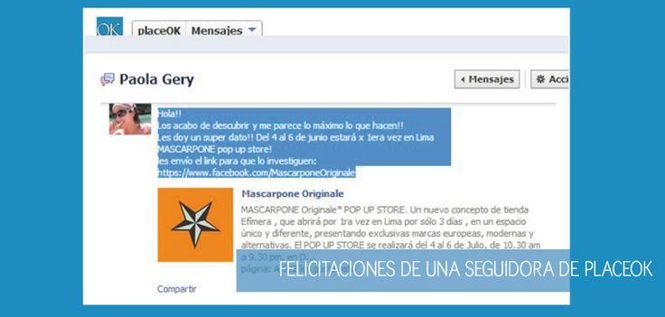 Hola!! Los acabo de descubrir y me parece lo máximo lo que hacen!! Paola Gery (Lima, Perú). Vía Facebook.