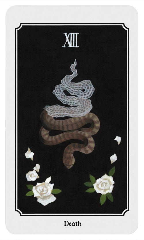 Death: Endings, beginnings, change, transition, accepting fate. From the Anima Mundi tarot deck.