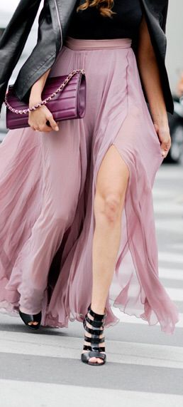 YAAAAS! Women's fashion | Slit purple maxi skirt with strapped heels and leather jacket
