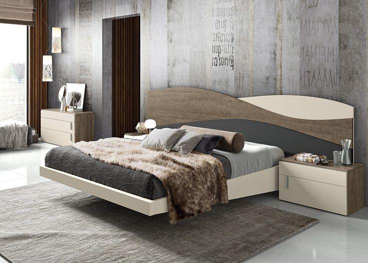 Dormitorio Bella, trio de colores humo, champan y gris