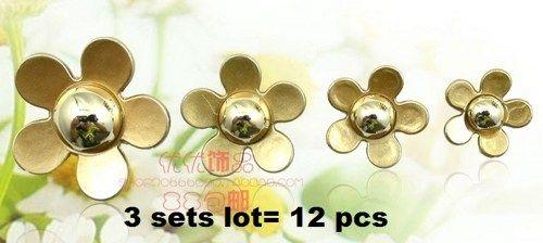 3 sets gold daisies 12 piece lot alloy diy bling phone deco etc | chriszcoolstuff - Craft Supplies on ArtFire