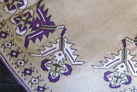 Authentic handmade embroidery linen lilac and white pattern tablecloth