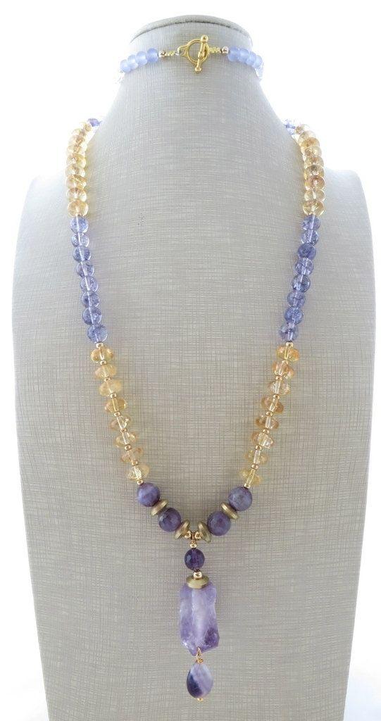 Collar de amatista, rústico collar, collar de piedra cruda, collar citrino amarillo, púrpura collar de perlas, collar largo, joyas de piedras preciosas