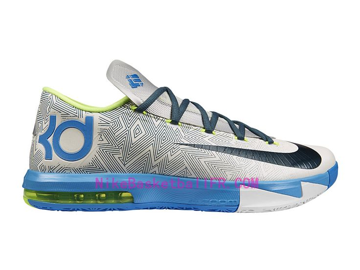 Nike KD 6 Home Pas Cher Pure Platinum/Nuit Factor-Vivid Blue-Volt