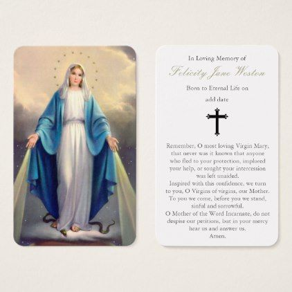 Funeral Prayer Card   Our Lady of Grace - thank you gifts ideas diy thankyou