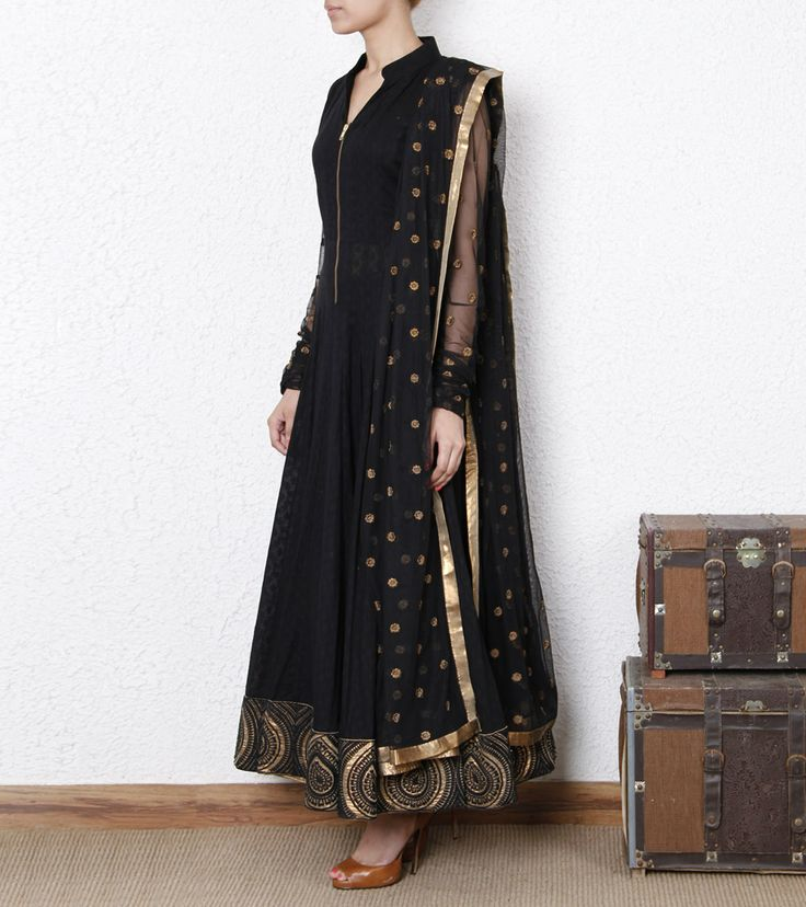 Black Dobby Anarkali Suit