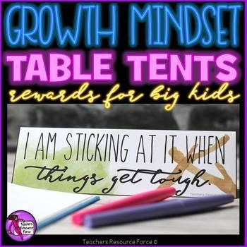 Are you looking for a creative and tangible way to develop growth mindset in your classroom? Now you can with these growth mindset table tent rewards!The idea is really simple to implement: when you see your students demonstrating a particular growth mindset skill (there are 40 to choose from in this set!) you can award them this desk tent for them to proudly display on their desk while they work!