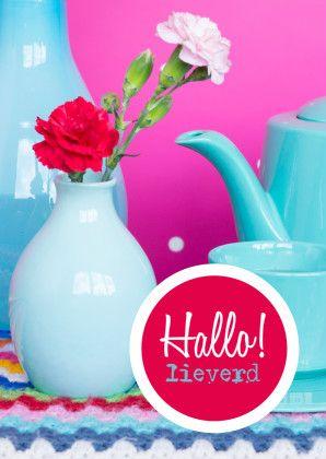 Hallo lieverd Fotografiekaart - Bloemenkaarten - Kaartje2go