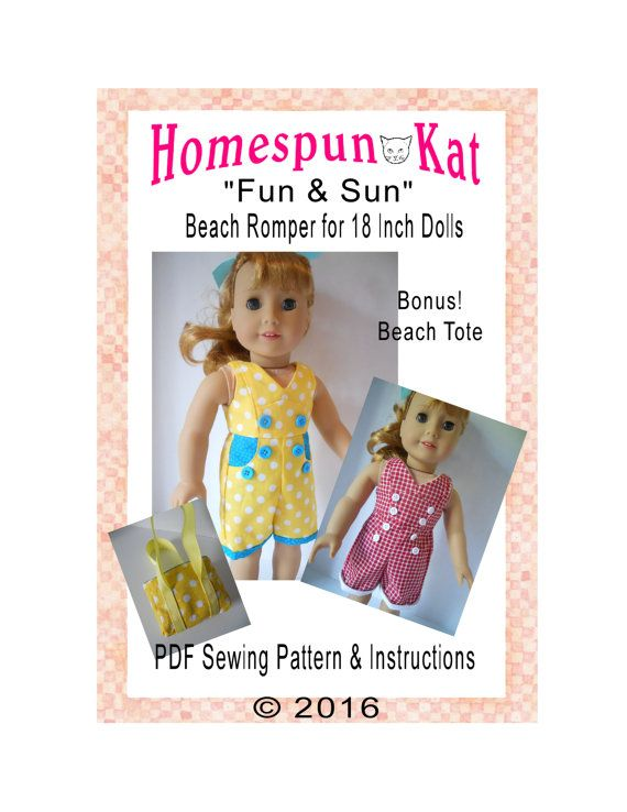 Fun & Sun Beach Romper 18 Inch Doll Clothes PDF Digital Download Sewing Pattern