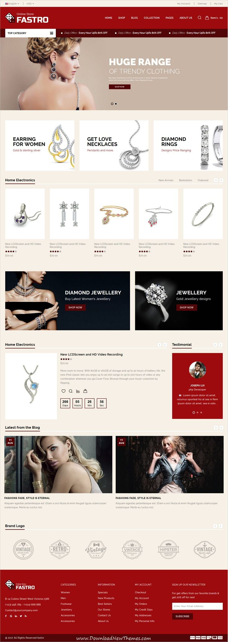 Fastro is clean and modern design responsive #HTML5 template for #Jewellery shop #eCommerce website with 6 niche homepage layouts download now..