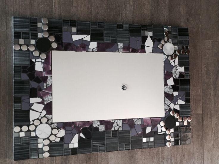 Mosaico rectangular espejo y cerámicos.