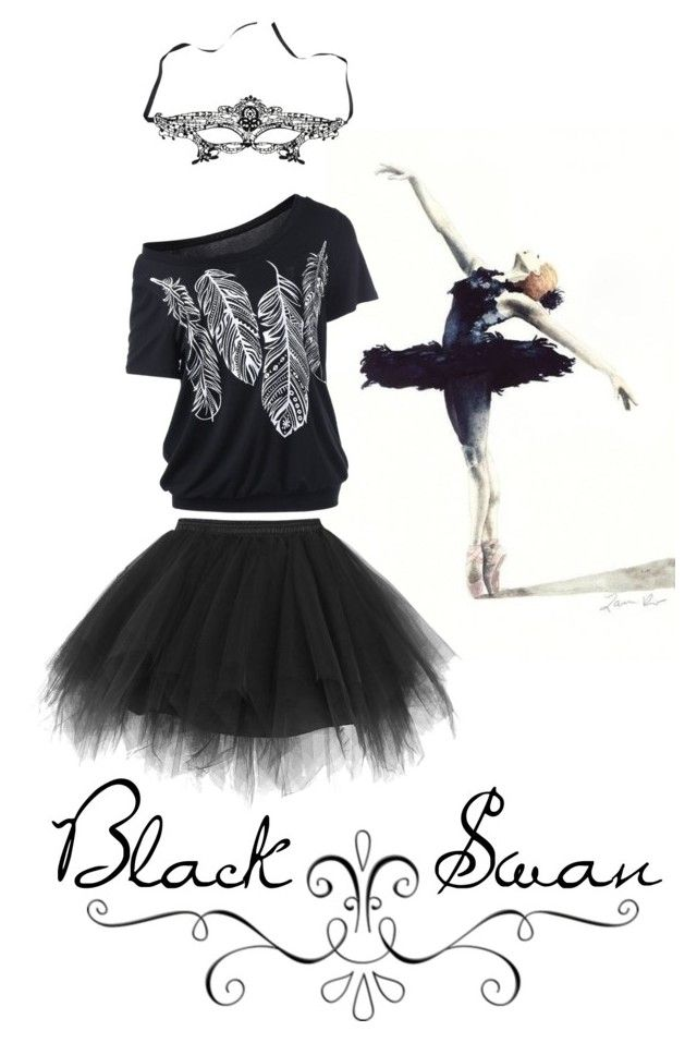 """Black Swan costume"" by egyptianbloom ❤ liked on Polyvore featuring Black Swan and Masquerade"