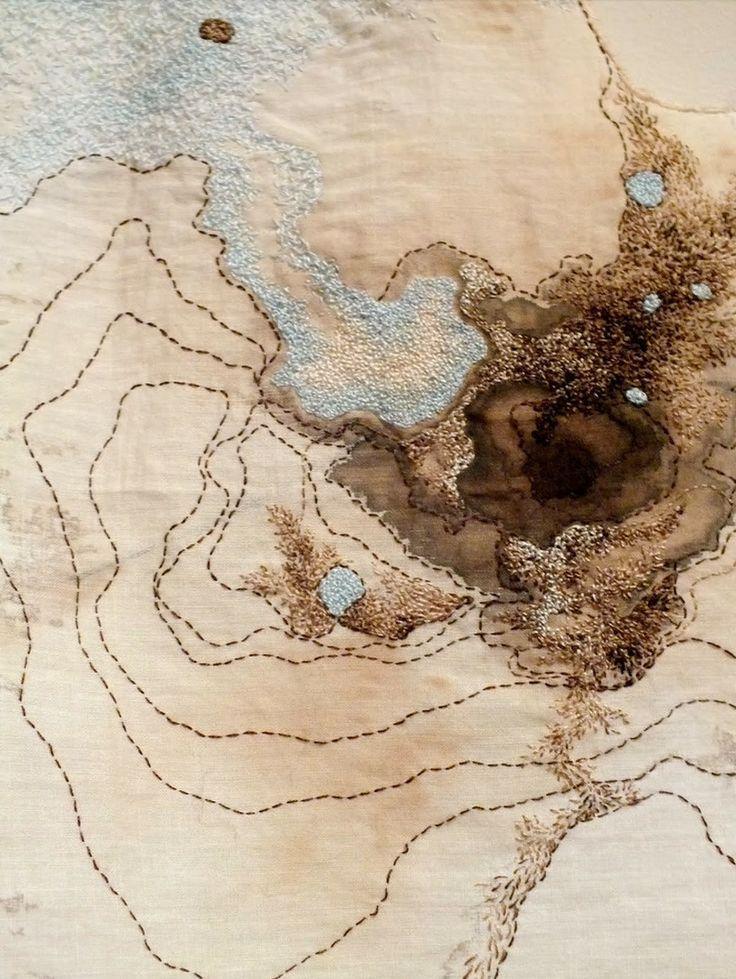 Erin Endicott Hand embroidery, walnut ink, vintage fabric