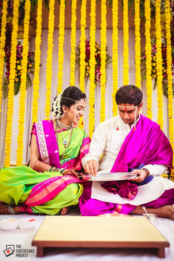 How adorable is this Maharashtrian bride & groom!? Colour - Coordinated - Love