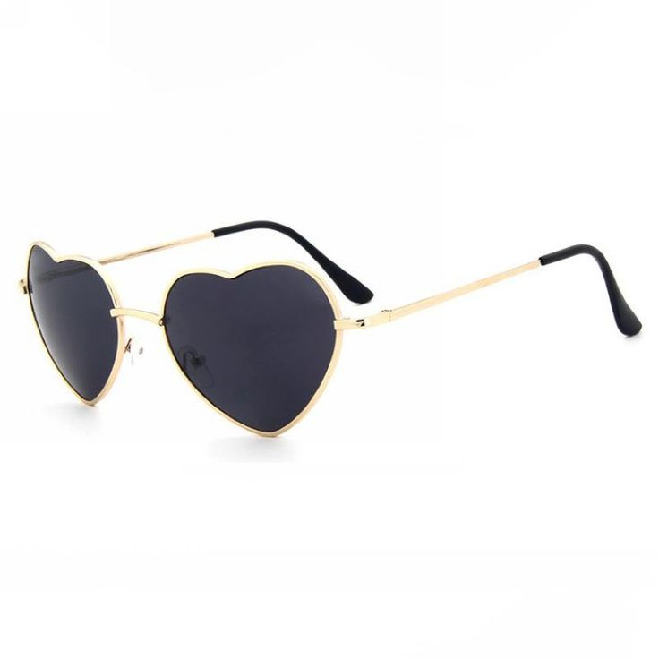 Fun Heart Shaped Sunglasses Gold Metal Frame Grey Lens
