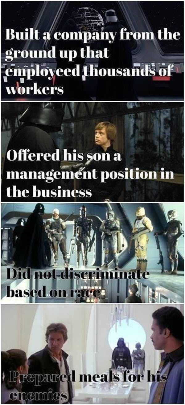 Lord Vader Is A Generous Leade… is listed (or ranked) 3 on the list 'Star Wars' Memes That Make It Perfectly Clear The Empire Did Nothing Wr…