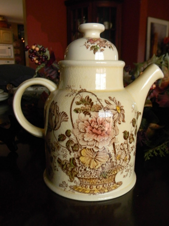 Polychrome Brown Transferware Charlotte Coffee Pot Tea Pot Victorian Basket of Roses