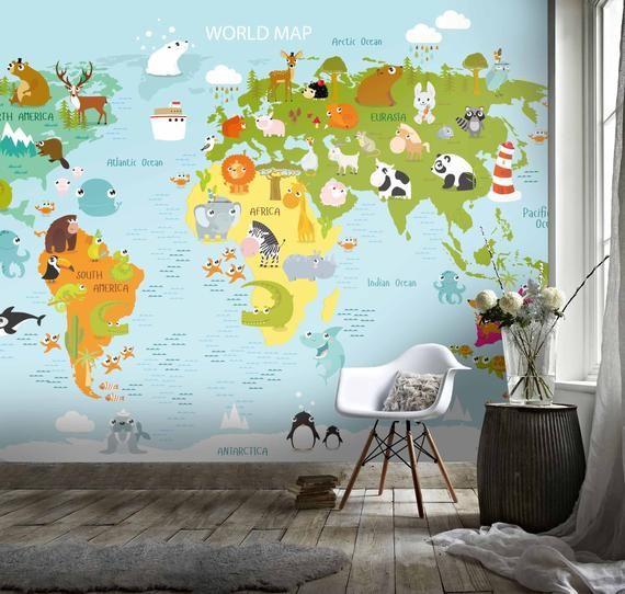 3d Blue Cartoon Animals World Map Wallpaper Mural Peel And Etsy World Map Wallpaper Map Wall Mural Map Wallpaper