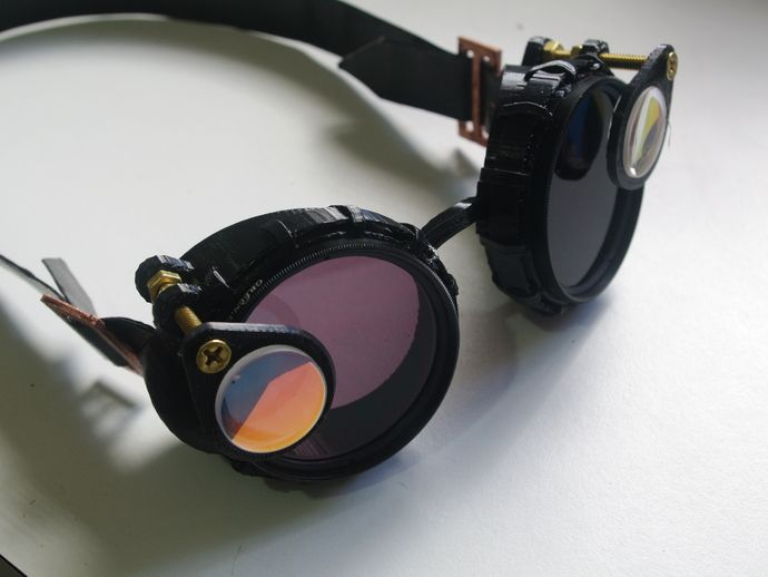 3D-printed steampunk goggles using 52mm photographic filters